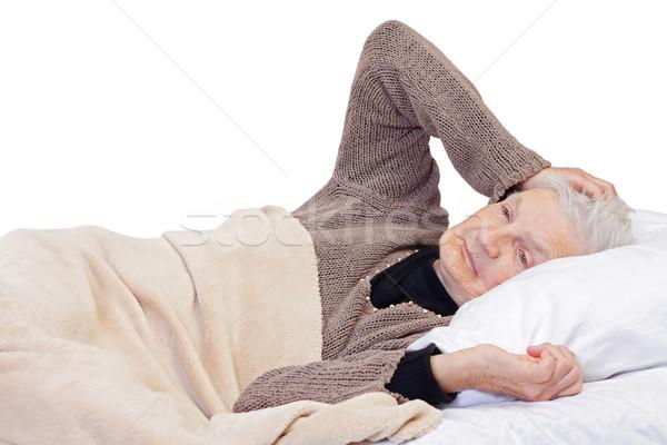 Egészség problémák portré idős nő fájdalmas fejfájás Stock fotó © ocskaymark