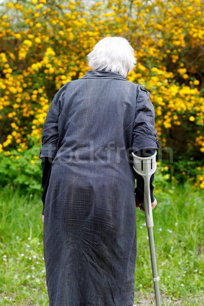 Foto stock: Idoso · vida · deficientes · mulher · caminhada · jardim
