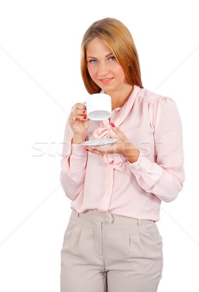 Mattina ritratto bella donna bere caffè Foto d'archivio © ocskaymark