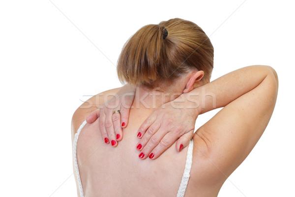 Schouderpijn foto vrouw aanraken schouder vrouwelijke Stockfoto © ocskaymark