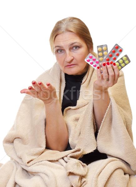 хорошо красивой женщину таблетки Сток-фото © ocskaymark