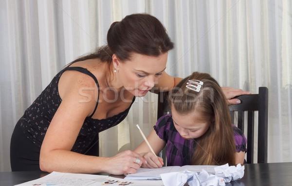 Сток-фото: обучения · время · матери · изучения · дочь · таблице