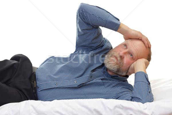 Stok fotoğraf: Baş · ağrısı · portre · adam · ev