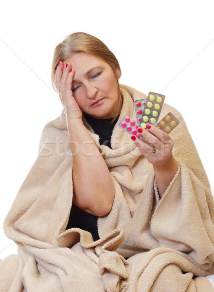 Kút gyönyörű kopott nő elvesz tabletták Stock fotó © ocskaymark