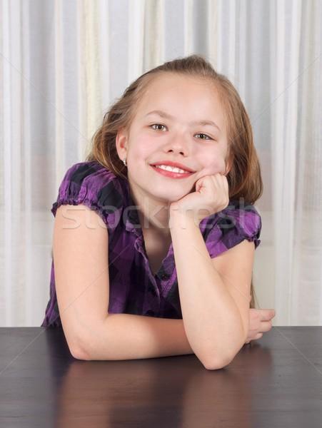 Sorridente criança retrato belo tabela menina Foto stock © ocskaymark
