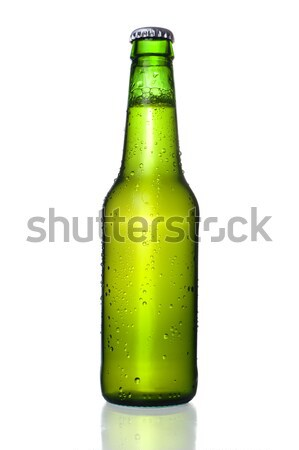 Cold Frosted Beer Bottle on White Background Stock photo © ocusfocus