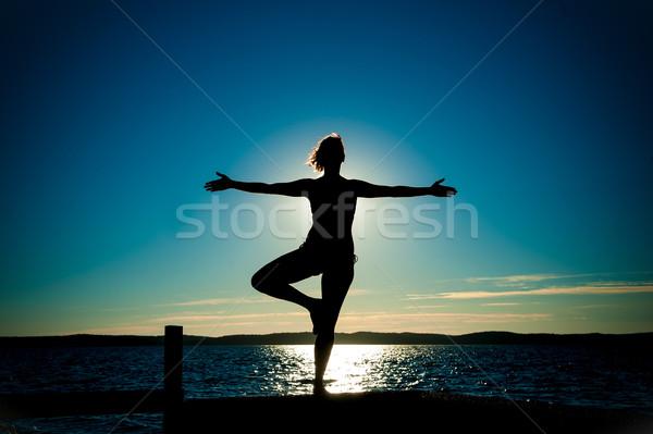 Photo stock: Jeune · femme · silhouette · ballet · ouvrir · bras · danse