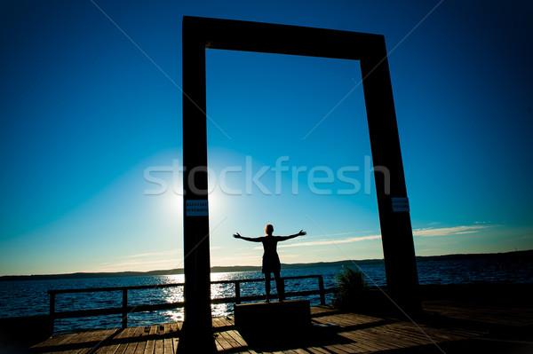 Jonge vrouw silhouet Open armen zee zomer Stockfoto © ocusfocus