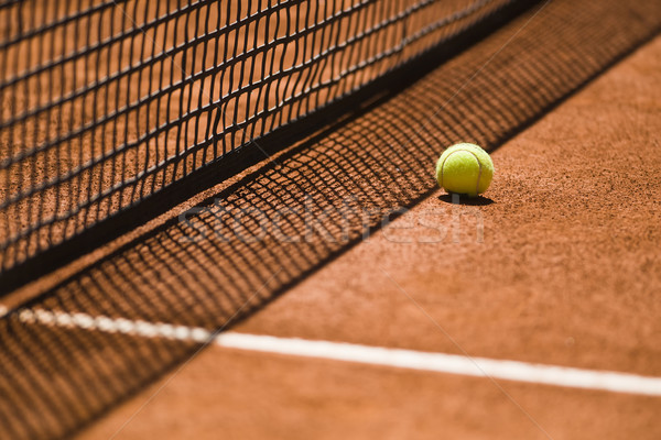 Tennis Ball and Net on a Clay Court Stock photo © ocusfocus