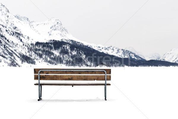 Ahşap bank kış manzara Stok fotoğraf © ocusfocus