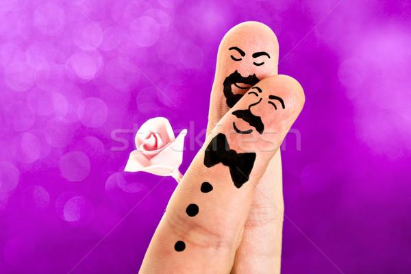 Ujjak festett homoszexuális esküvő édes arcok Stock fotó © ocusfocus