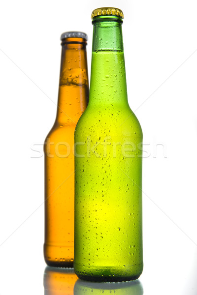 2 Cold Frosted Beer Bottles on White Background Stock photo © ocusfocus