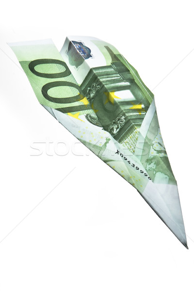 100 euros papier avion isolé Photo stock © ocusfocus