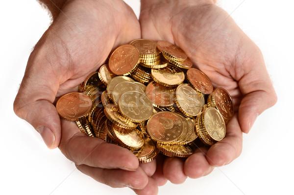 Adam eller tok madeni para euro yalıtılmış Stok fotoğraf © ocusfocus