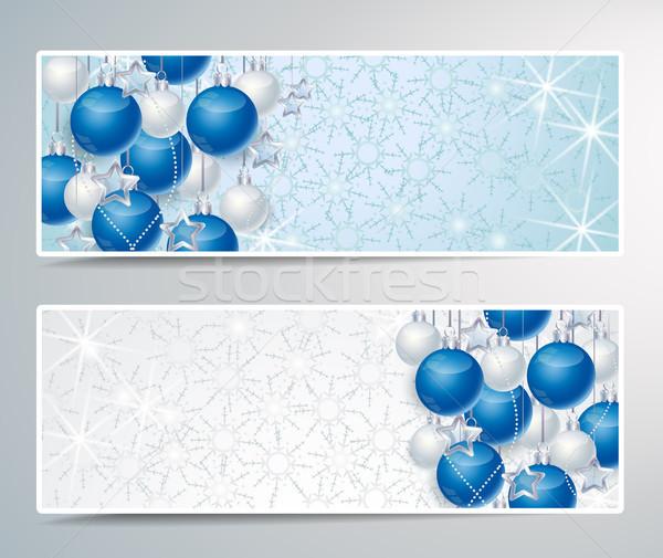 Stok fotoğraf: Noel · iki · afişler · dekorasyon · kâğıt