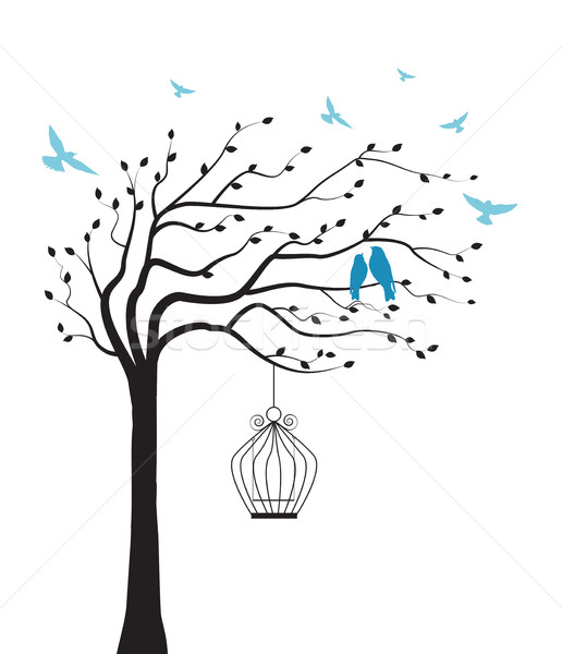 Tree with bird and cage Stock photo © odina222