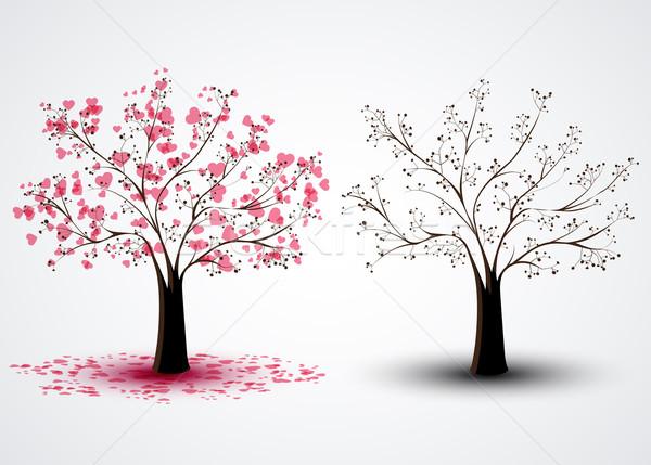 árvores dois um corações árvore abstrato Foto stock © odina222