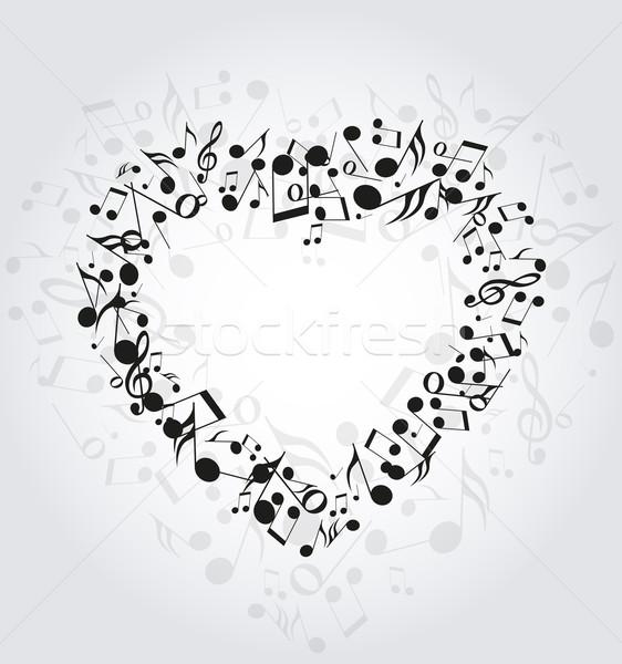 Szív zene felfelé hangjegyek háttér felirat Stock fotó © odina222