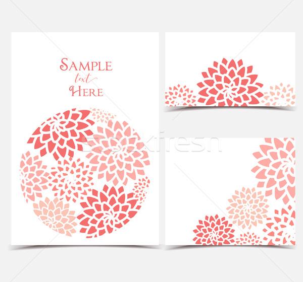 Vector uitnodigingen ingesteld rode bloemen witte Stockfoto © odina222