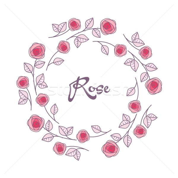 вектора роз кадр романтические украшение цветы Сток-фото © odina222