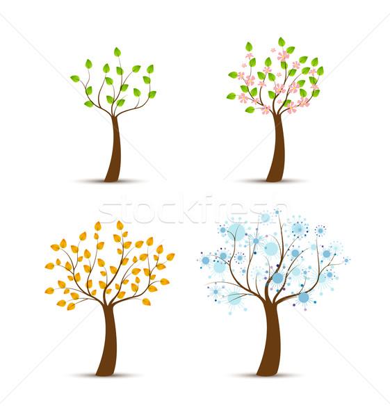 Négy évszak növekvő fa fa tájkép terv Stock fotó © odina222