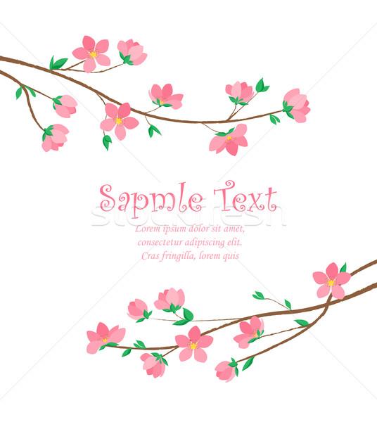 Foto stock: Flores · vector · decoración · primavera · flor