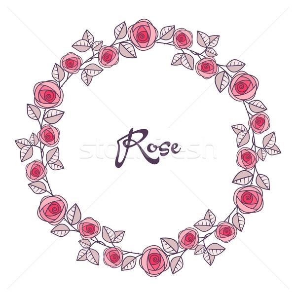 Stockfoto: Vector · rozen · frame · romantische · decoratie · bloemen