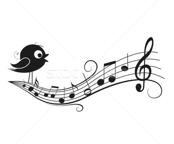 Musical notes with bird Stock photo © odina222