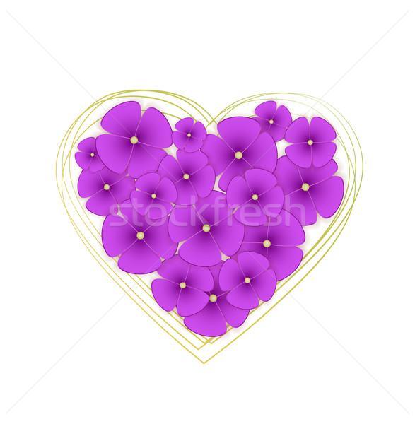 Vetor flores violeta forma coração flor Foto stock © odina222