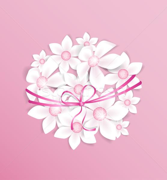 цветы украшение белые цветы розовый счастливым аннотация Сток-фото © odina222