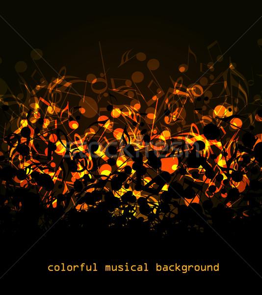 Renkli müzikal vektör soyut renkli notlar Stok fotoğraf © odina222