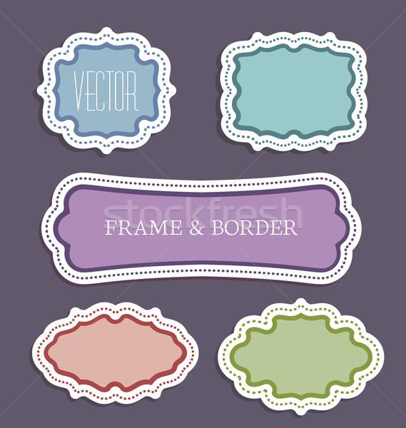 Decoratief frames kleurrijk frame ingesteld papier Stockfoto © odina222