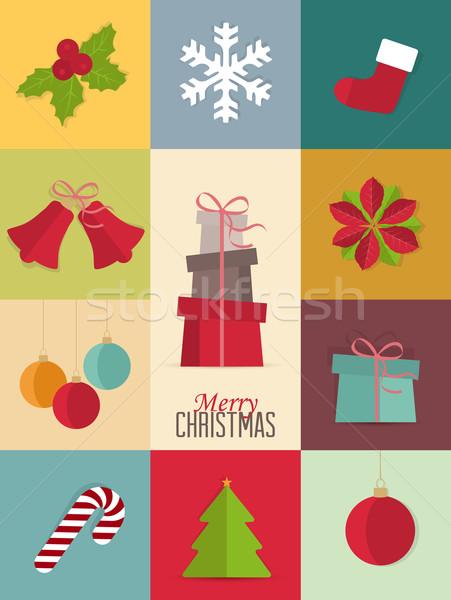 Stockfoto: Christmas · iconen · retro · kaart · natuur