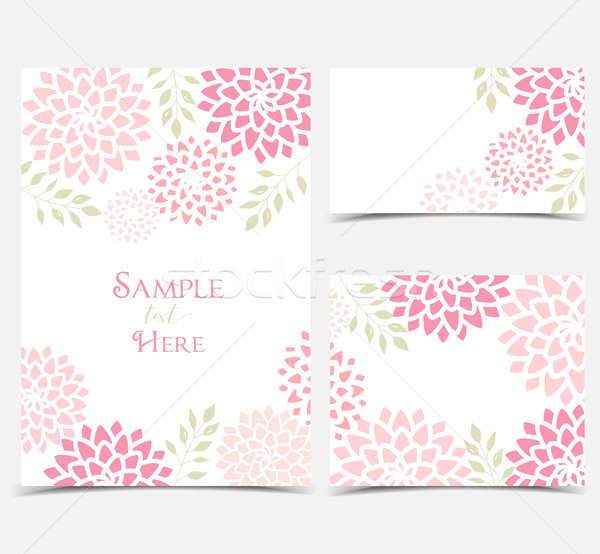 вектора цветочный набор розовый цветы Сток-фото © odina222
