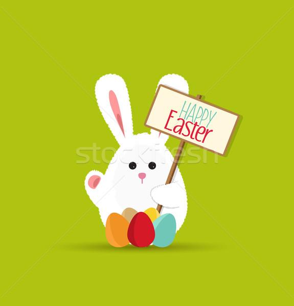 Vecteur lapin de Pâques drôle carte joyeuses pâques papier Photo stock © odina222