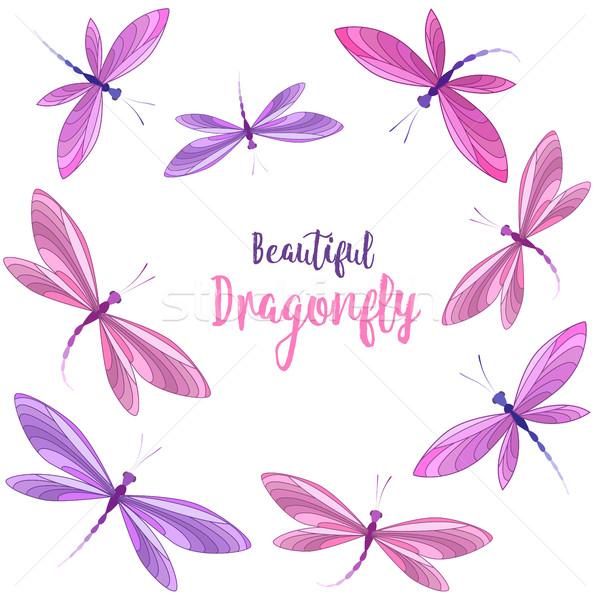 полет вектора Dragonfly белый аннотация Сток-фото © odina222