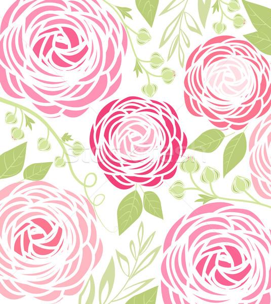 Vetor flor rosa flores fundo cartão Foto stock © odina222