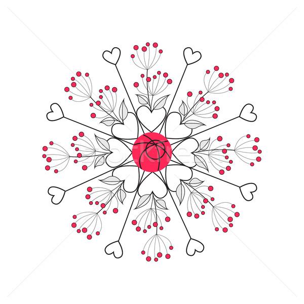 Virágmintás romantikus dekoráció levelek természetes keret Stock fotó © odina222