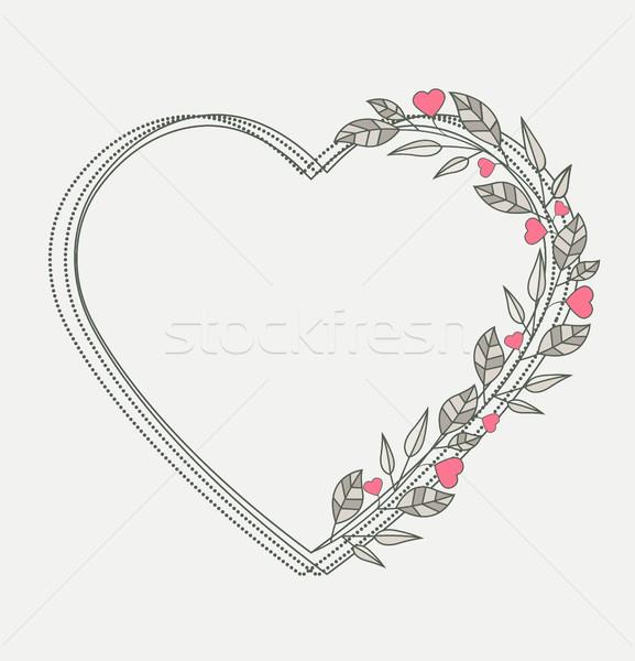 Romantische hart decoratie harten bladeren Stockfoto © odina222