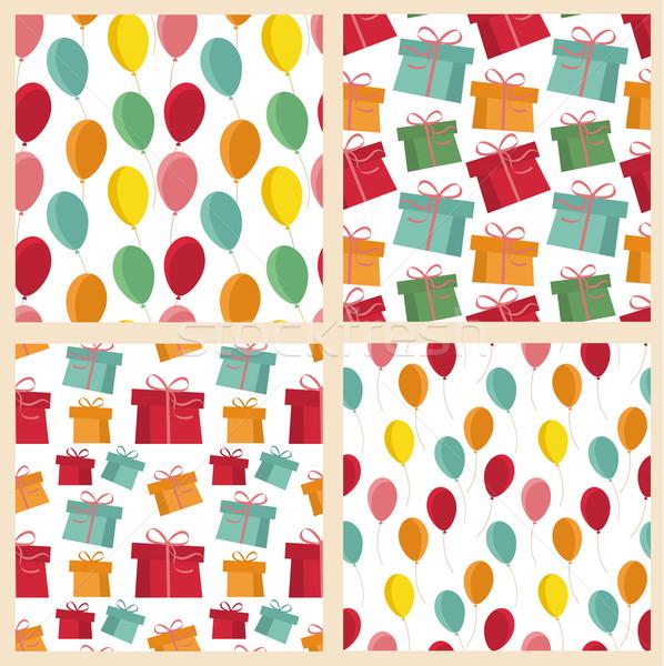 Ayarlamak dört renkli hediyeler balonlar Stok fotoğraf © odina222