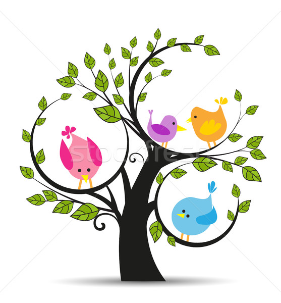 Tree with a birds Stock photo © odina222