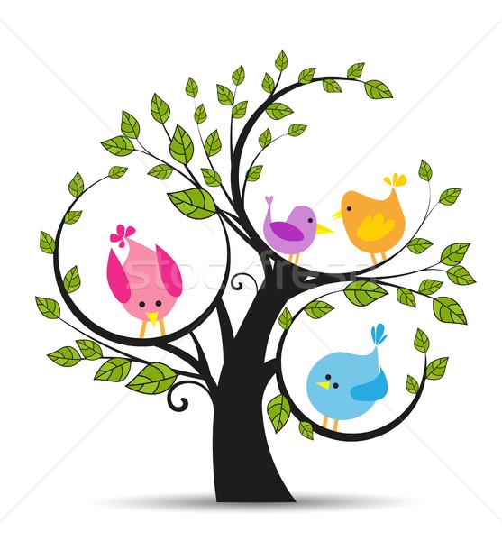 Arbre oiseaux blanche heureux jardin fond Photo stock © odina222