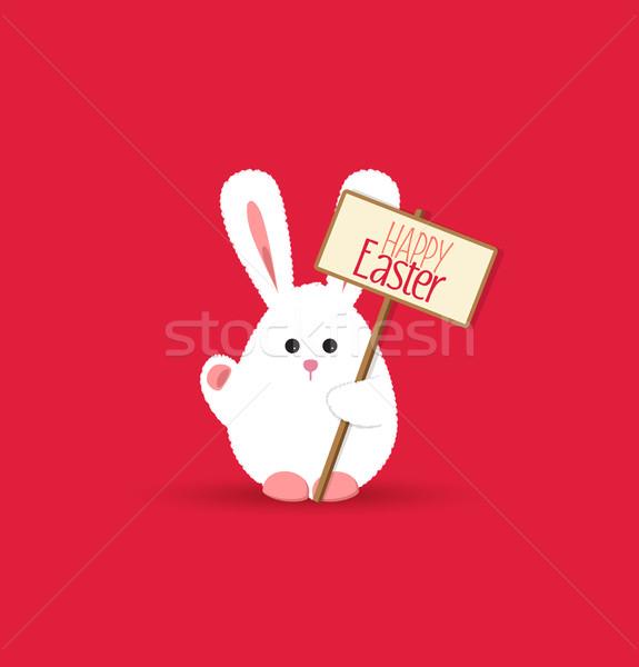 Vetor coelhinho da páscoa engraçado cartão papel Foto stock © odina222