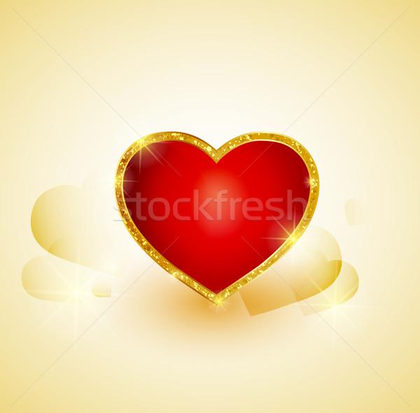 Golden Herz Vektor Gold Hochzeit Liebe Vektor