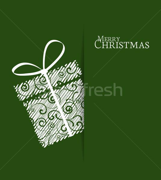 Foto stock: Natal · dom · verde · fundo · caixa · cartão