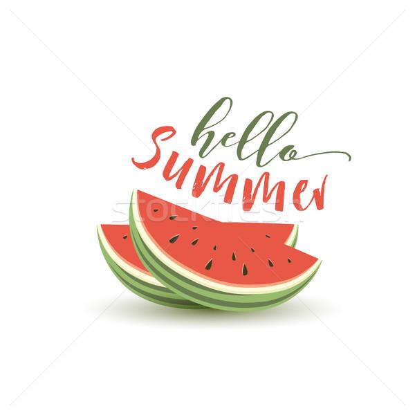Hello nyár kártya dinnye görögdinnye papír Stock fotó © odina222