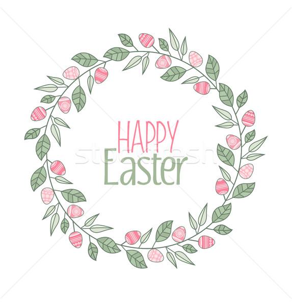 Vecteur Pâques cadre laisse œufs de Pâques Photo stock © odina222