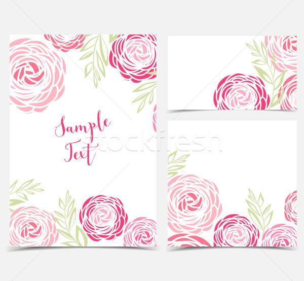Vektor virág szett hátterek rózsaszín virágok Stock fotó © odina222