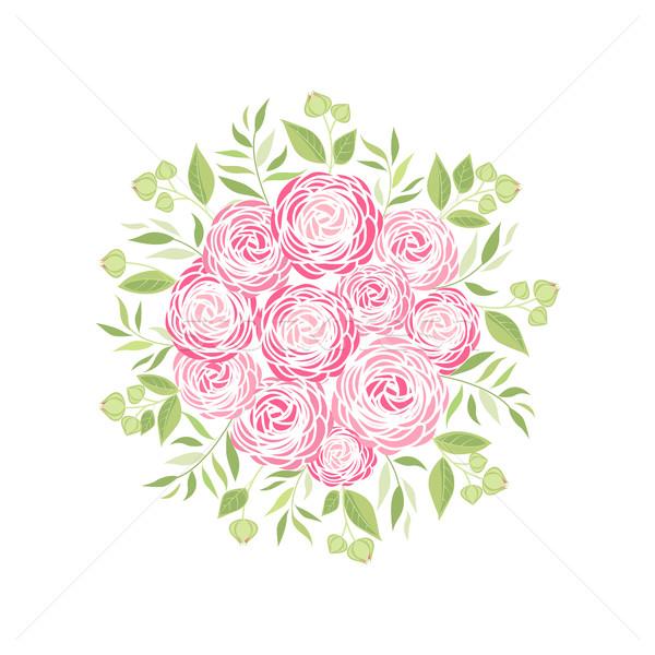 Stok fotoğraf: Vektör · çiçek · dekorasyon · buket · çiçekler · yaprakları