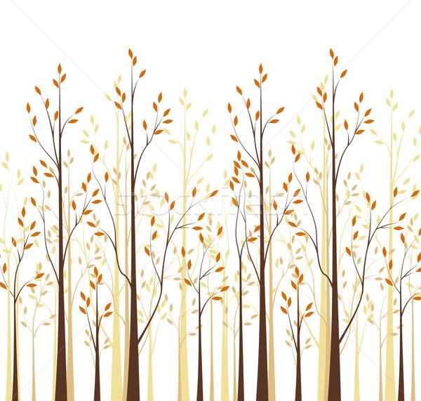 осень деревья вектора дерево белый лес Сток-фото © odina222